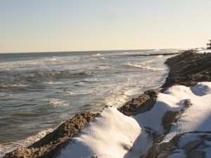 Harvey Cedars reinforced dunes waiting for beach replenishment